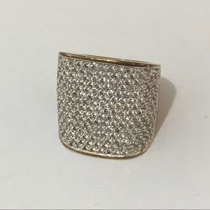 Cubic Zirconia Platinum Over Silver Pave Ring Sz 8